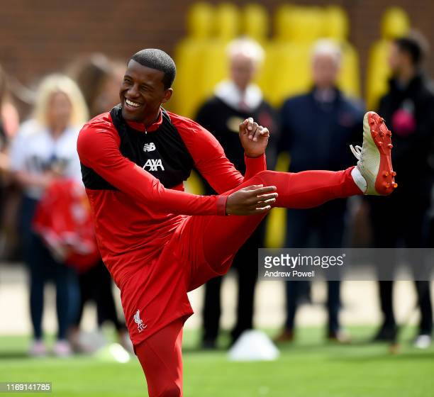 Georginio Wijnaldum of Liverpool during a training session at Melwood Training Ground on August 20 2019 in Liverpool England