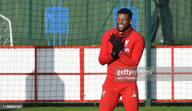 Georginio Wijnaldum of Liverpool during a training session at Melwood Training Ground on January 15 2020 in Liverpool England