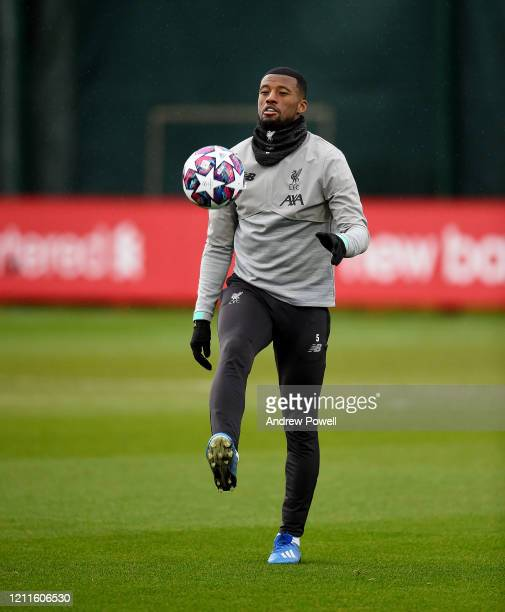 Georginio Wijnaldum of Liverpool during a training session at Melwood training ground on March 10 2020 in Liverpool United Kingdom Liverpool FC will...
