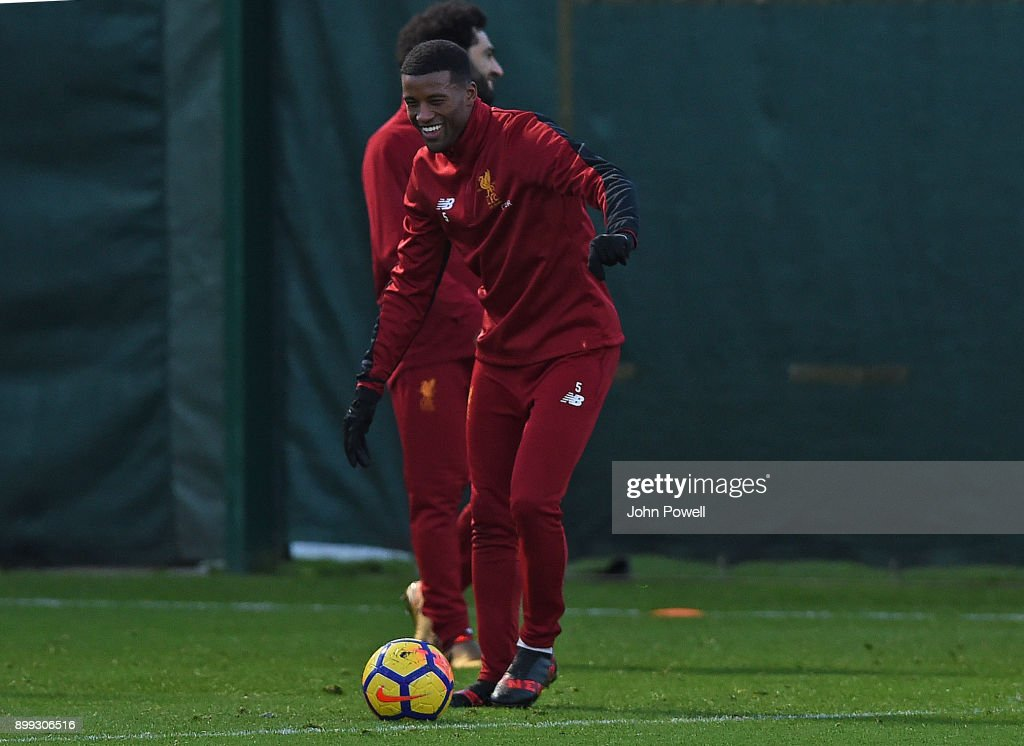 Georginio Wijnaldum of Liverpool during a training session at Melwood Training Ground on December 28, 2017 in Liverpool, England.