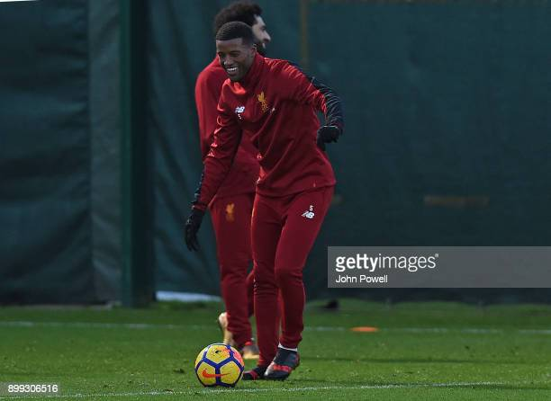 Georginio Wijnaldum of Liverpool during a training session at Melwood Training Ground on December 28 2017 in Liverpool England