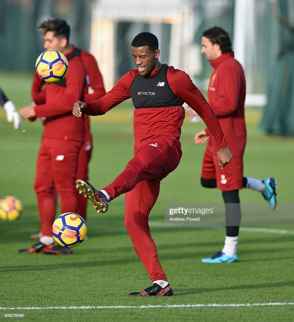 Georginio Wijnaldum of Liverpool during a training session at Melwood Training Ground on January 10, 2018 in Liverpool, England.