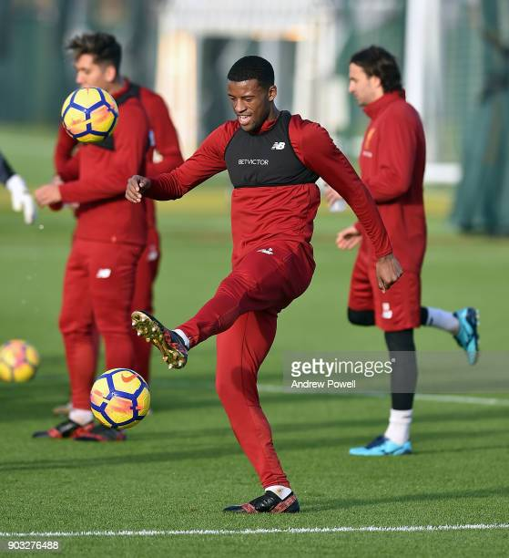Georginio Wijnaldum of Liverpool during a training session at Melwood Training Ground on January 10 2018 in Liverpool England