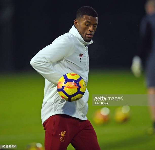 LIVERPOOL ENGLAND JANUARY 11 Georginio Wijnaldum of Liverpool during a training session at Melwood Training Ground on January 11 2018 in Liverpool...