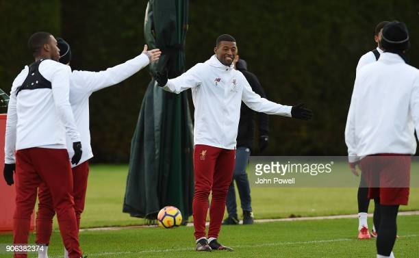 Georginio Wijnaldum of Liverpool during a training session at Melwood Training Ground on January 18 2018 in Liverpool England