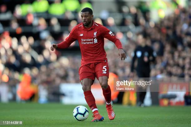 Georginio Wijnaldum of Liverpool during the Premier League match between Fulham FC and Liverpool FC at Craven Cottage on March 17 2019 in London...