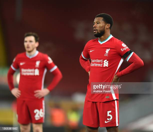 Georginio Wijnaldum of Liverpool during the Premier League match between Liverpool and Chelsea at Anfield on March 04, 2021 in Liverpool, England....
