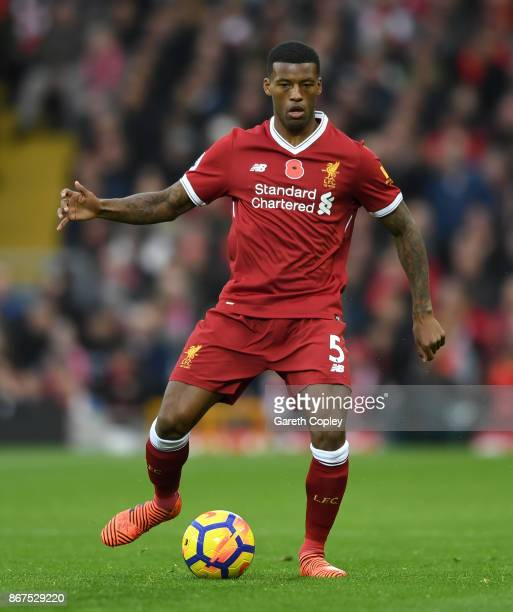 Georginio Wijnaldum of Liverpool during the Premier League match between Liverpool and Huddersfield Town at Anfield on October 28 2017 in Liverpool...