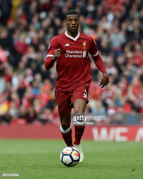 Georginio Wijnaldum of Liverpool during the Premier League match between Liverpool and Stoke City at Anfield on April 28 2018 in Liverpool England