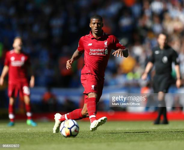 Georginio Wijnaldum of Liverpool during the Premier League match between Liverpool and Brighton and Hove Albion at Anfield on May 13 2018 in...