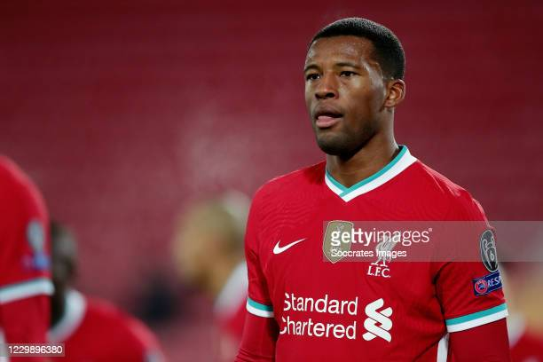 Georginio Wijnaldum of Liverpool during the UEFA Champions League match between Liverpool v Ajax at the Anfield on December 1, 2020 in Liverpool...