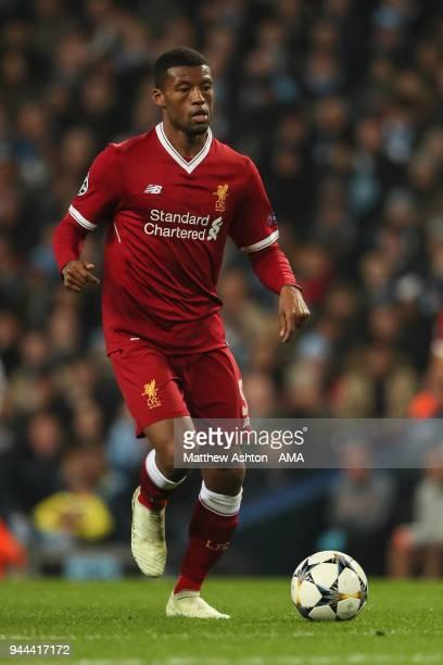 Georginio Wijnaldum of Liverpool during the UEFA Champions League Quarter Final Second Leg match at Etihad Stadium on April 10 2018 in Manchester...