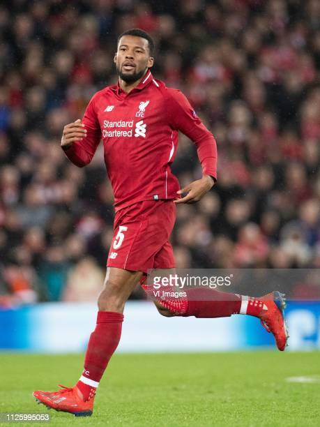 Georginio Wijnaldum of Liverpool FC during the UEFA Champions League round of 16 match between Liverpool FC and Bayern Munich at Anfield on February...