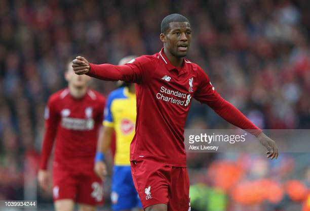Georginio Wijnaldum of Liverpool FC looks on during the Premier League match between Liverpool FC and Southampton FC at Anfield on September 22 2018...
