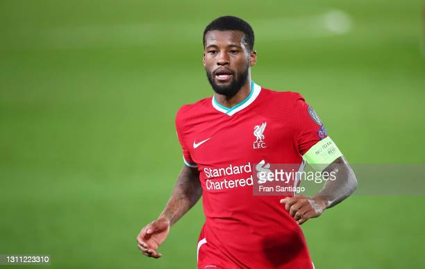 Georginio Wijnaldum of Liverpool FC looks on during the UEFA Champions League Quarter Final match between Real Madrid and Liverpool FC at Estadio...