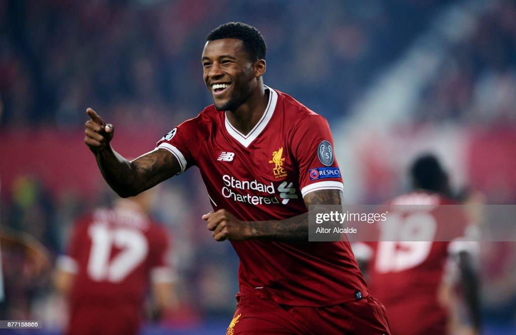 Georginio Wijnaldum of Liverpool FC reacts during the UEFA Champions League group E match between Sevilla FC and Liverpool FC at Estadio Ramon Sanchez Pizjuan on November 21, 2017 in Seville, Spain.