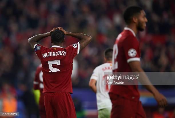 Georginio Wijnaldum of Liverpool FC reacts during the UEFA Champions League group E match between Sevilla FC and Liverpool FC at Estadio Ramon...