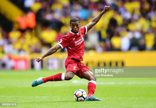 Georginio Wijnaldum of Liverpool in action during the during the Premier League match between Watford and Liverpool at Vicarage Road on August 12...