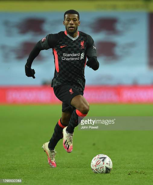 Georginio Wijnaldum of Liverpool in action during the FA Cup Third Round match between Aston Villa and Liverpool on January 08, 2021 in Birmingham,...