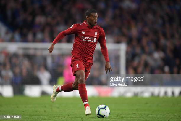 Georginio Wijnaldum of Liverpool in action during the Premier League match between Chelsea FC and Liverpool FC at Stamford Bridge on September 29...