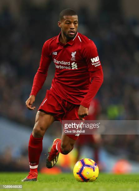 Georginio Wijnaldum of Liverpool in action during the Premier League match between Manchester City and Liverpool FC at Etihad Stadium on January 03...