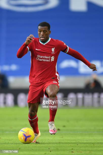 Georginio Wijnaldum of Liverpool in action during the Premier League match between Brighton & Hove Albion and Liverpool at American Express Community...
