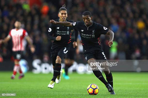 Georginio Wijnaldum of Liverpool in action during the Premier League match between Southampton and Liverpool at St Mary's Stadium on November 19 2016...