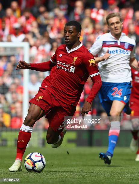 Georginio Wijnaldum of Liverpool in action during the Premier League match between Liverpool and Stoke City at Anfield on April 28 2018 in Liverpool...