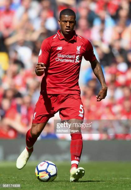 Georginio Wijnaldum of Liverpool in action during the Premier League match between Liverpool and Brighton and Hove Albion at Anfield on May 13 2018...