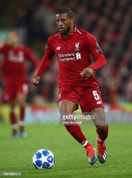 Georginio Wijnaldum of Liverpool in action during the UEFA Champions League Group C match between Liverpool and SSC Napoli at Anfield on December 11...