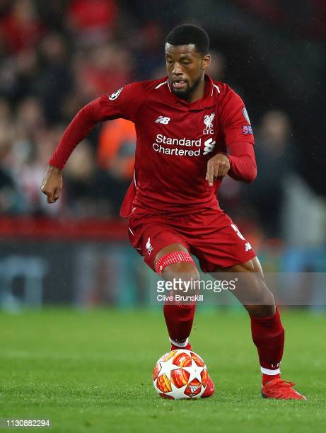 Georginio Wijnaldum of Liverpool in action during the UEFA Champions League Round of 16 First Leg match between Liverpool and FC Bayern Muenchen at...