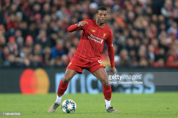 Georginio Wijnaldum of Liverpool in action during the UEFA Champions League group E match between Liverpool FC and SSC Napoli at Anfield on November...