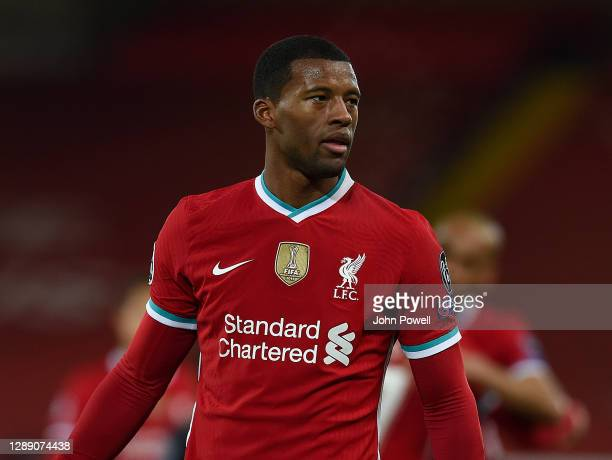 Georginio Wijnaldum of Liverpool in action during the UEFA Champions League Group D stage match between Liverpool FC and Ajax Amsterdam at Anfield on...