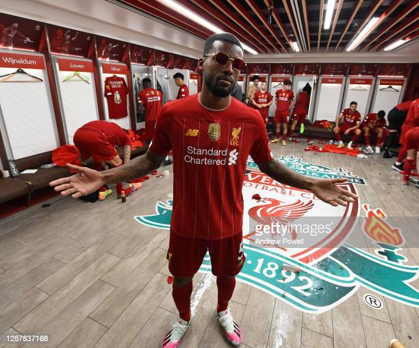 Georginio Wijnaldum of Liverpool in the dressing room after winning the Premier league at the end of the Premier League match between Liverpool FC...