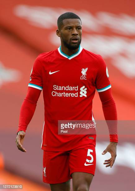 Georginio Wijnaldum of Liverpool looks on during the Premier League match between Liverpool and Leeds United at Anfield on September 12, 2020 in...