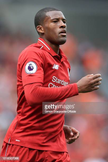 Georginio Wijnaldum of Liverpool looks onduring the Premier League match between Liverpool and West Ham United at Anfield on August 12 2018 in...