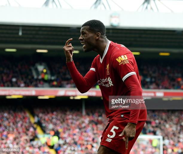 Georginio Wijnaldum of Liverpool reacts during the Premier League match between Liverpool and Stoke City at Anfield on April 28 2018 in Liverpool...