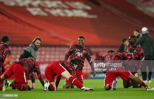 Georginio Wijnaldum of Liverpool reacts during the warm up prior to the UEFA Champions League Group D stage match between Liverpool FC and Ajax...