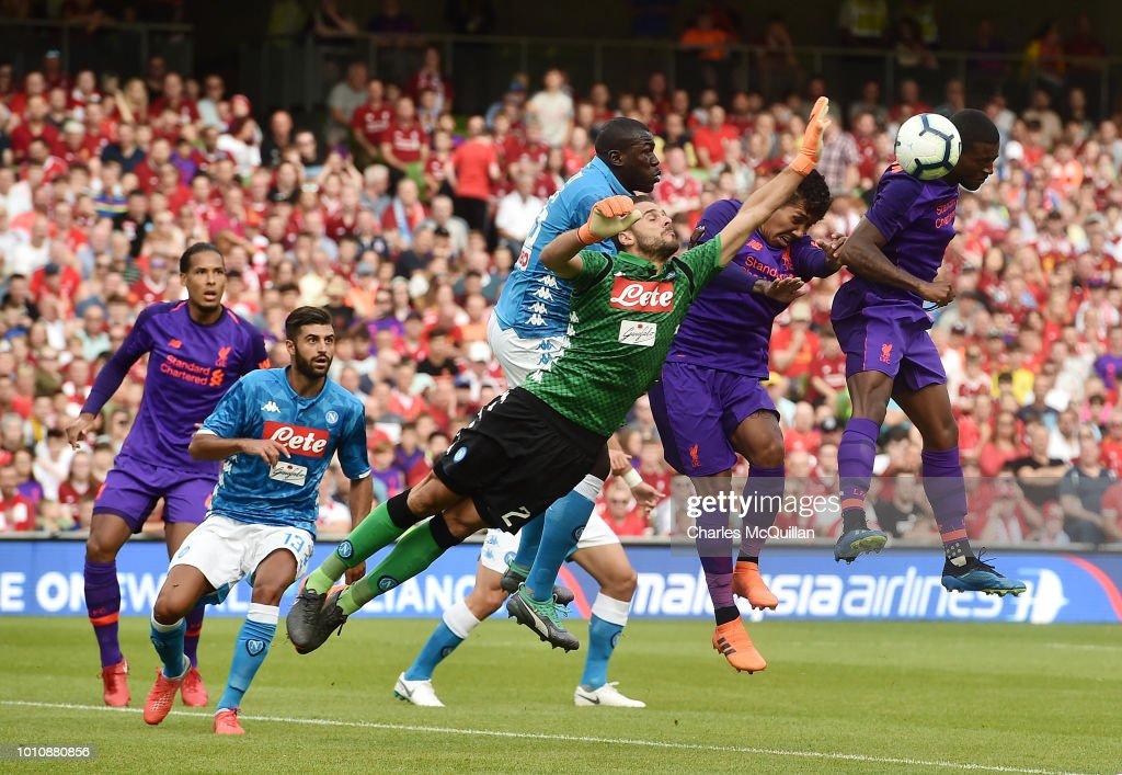 Georginio Wijnaldum of Liverpool scores during the international friendly game between Liverpool and Napoli at Aviva Stadium on August 4, 2018 in Dublin, Ireland.