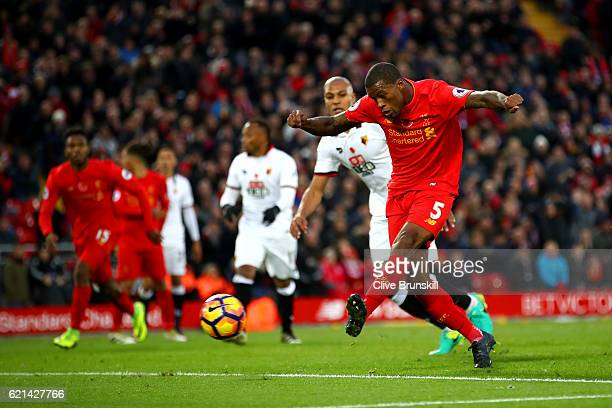 Georginio Wijnaldum of Liverpool scores his sides sixth goal during the Premier League match between Liverpool and Watford at Anfield on November 6...