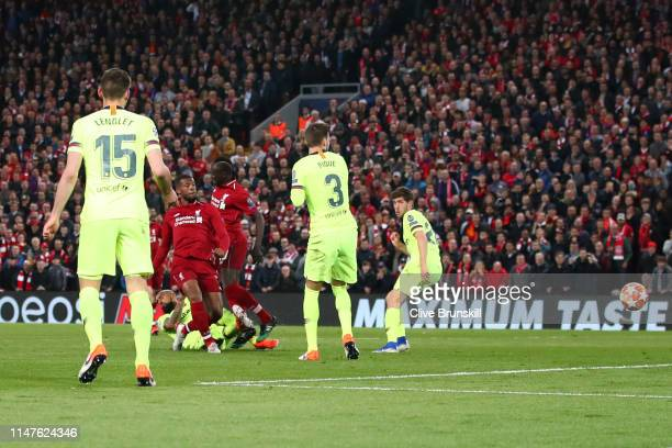 Georginio Wijnaldum of Liverpool scores his team's second goal during the UEFA Champions League Semi Final second leg match between Liverpool and...