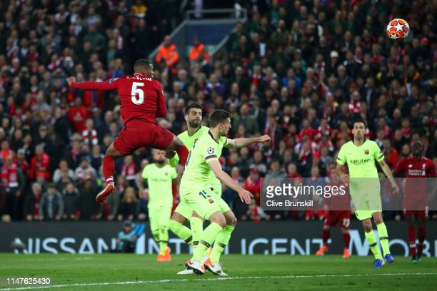 Georginio Wijnaldum of Liverpool scores his team's third goal during the UEFA Champions League Semi Final second leg match between Liverpool and...