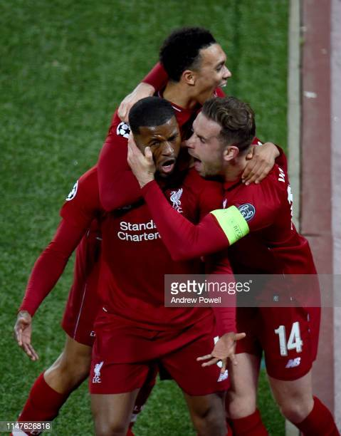 Georginio Wijnaldum of Liverpool scores the Third goal and celebrates during the UEFA Champions League Semi Final second leg match between Liverpool...