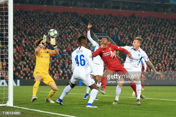 Georginio Wijnaldum of Liverpool scores their 1st goal during the UEFA Champions League group E match between Liverpool FC and KRC Genk at Anfield on...