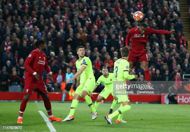 Georginio Wijnaldum of Liverpool scores their third goal during the UEFA Champions League Semi Final second leg match between Liverpool and Barcelona...
