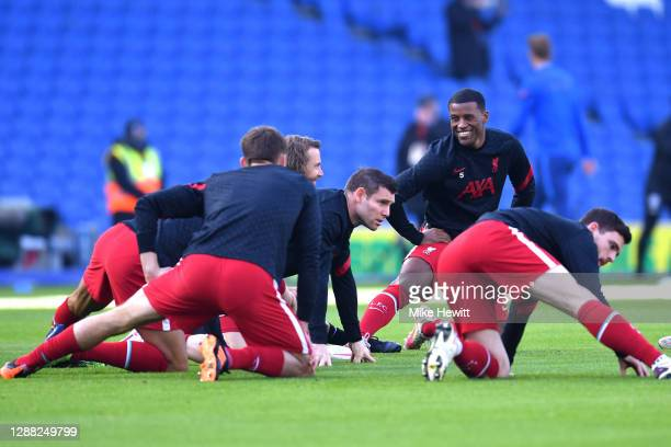 Georginio Wijnaldum of Liverpool warms up prior to the Premier League match between Brighton & Hove Albion and Liverpool at American Express...