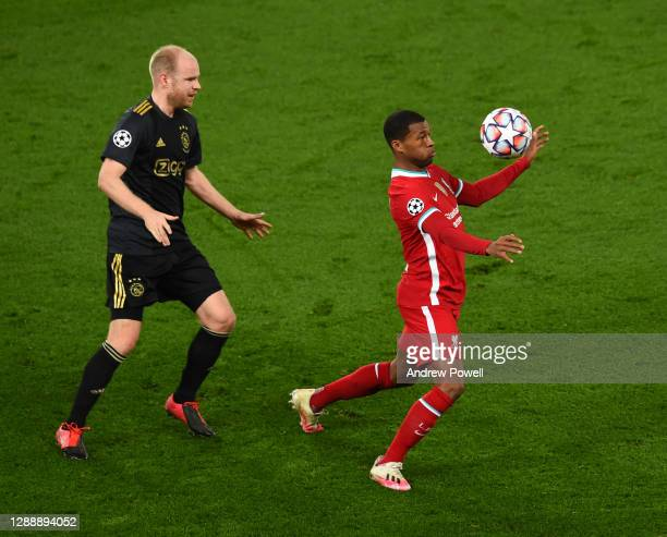 Georginio Wijnaldum of Liverpool with Davy Klaassen of Ajax during the UEFA Champions League Group D stage match between Liverpool FC and Ajax...