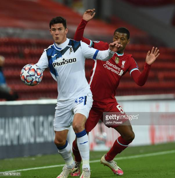 Georginio Wijnaldum of Liverpool with Scalvini of Atalanta during the UEFA Champions League Group D stage match between Liverpool FC and Atalanta BC...