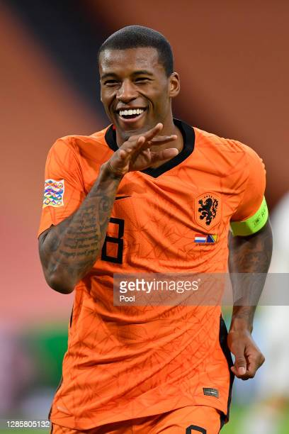 Georginio Wijnaldum of Netherlands celebrates after scoring his team's first goal during the UEFA Nations League group stage match between...