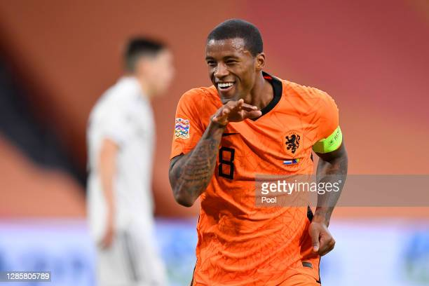 Georginio Wijnaldum of Netherlands celebrates after scoring his team's second goal during the UEFA Nations League group stage match between...